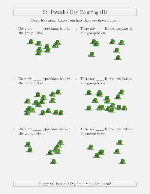 Counting Up to 20 Leprechaun Hats In Scattered