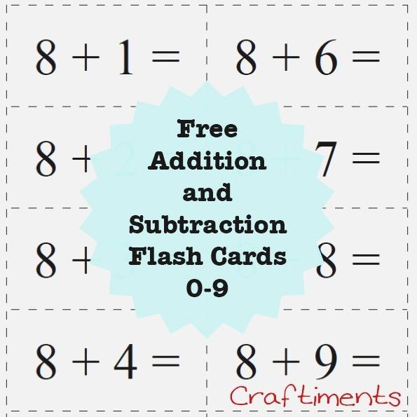 Craftiments Free Printable Addition and Subtraction Flash