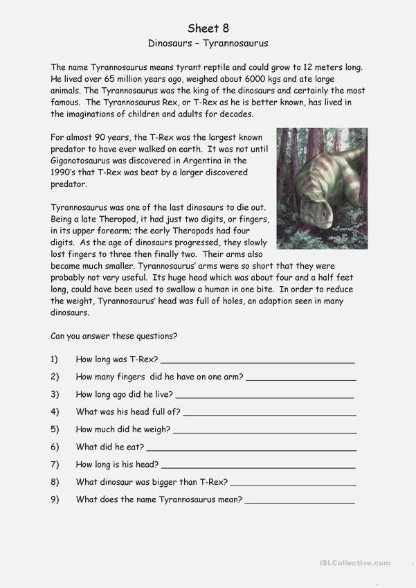 Dinosaurs English Esl Worksheets for Distance Learning