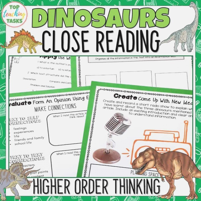Dinosaurs Reading Prehension Passages and Questions