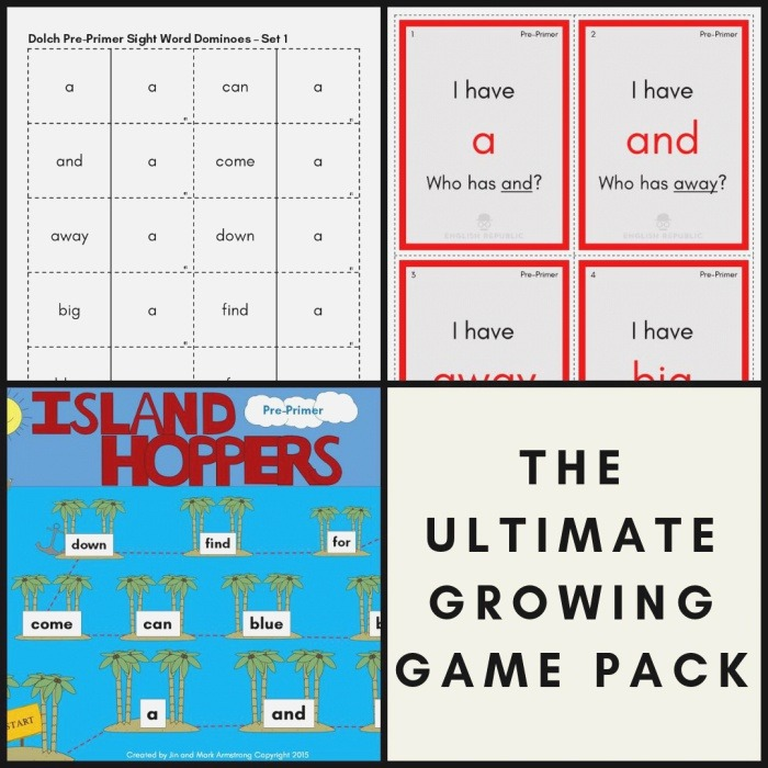 Dolch Sight Word Bingo Dominoes and Board by English