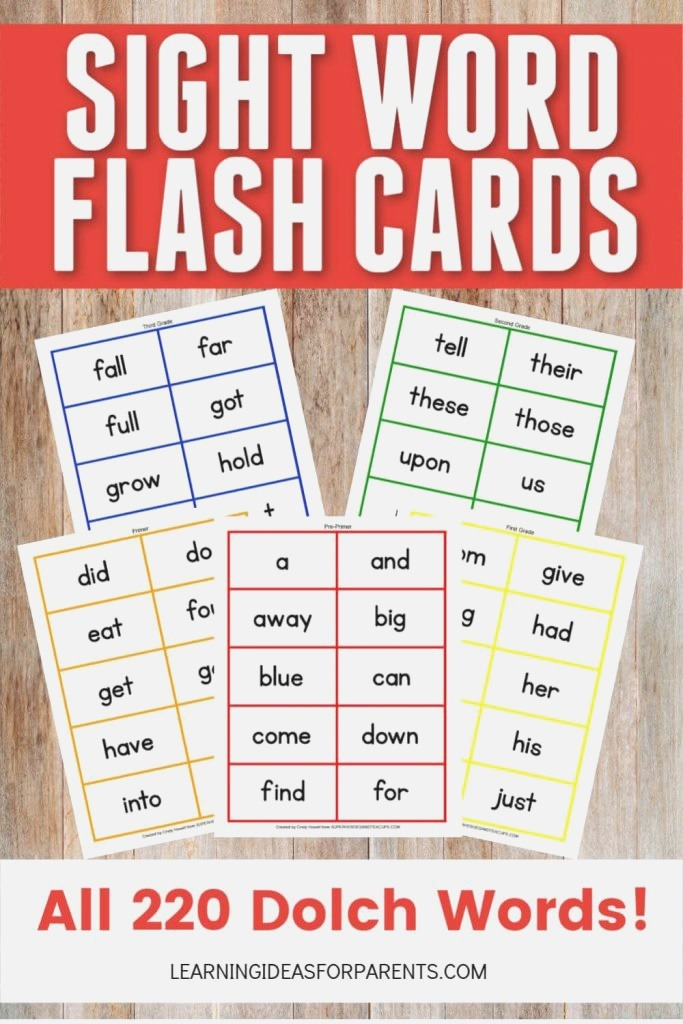 Dolch Sight Word Flash Cards Free Printable for Kids