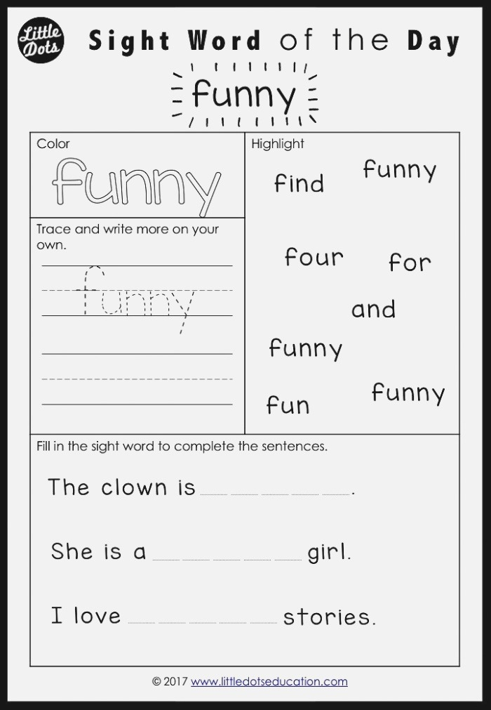 Dolch Sight Words Activities Pre Primer Pre K Level