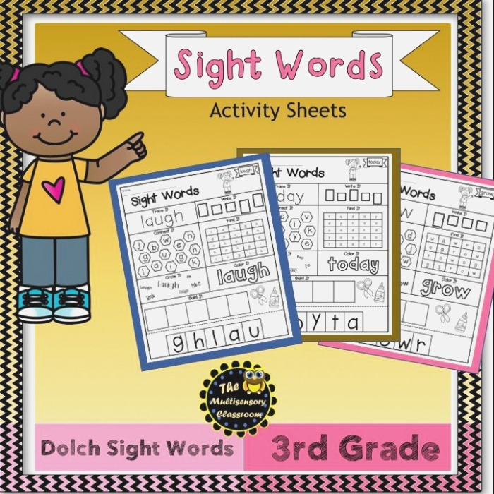 Dolch Sight Words Activity Sheets Third Grade Level