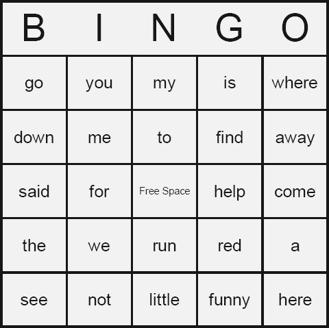 Dolch Sight Words Bingo Cards Free Printable and