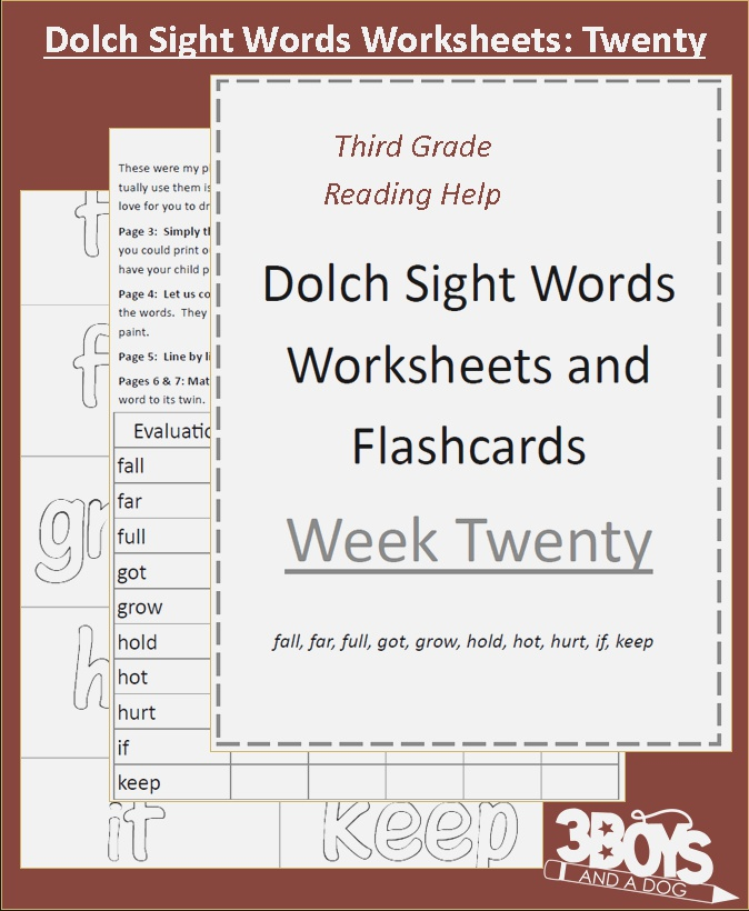 Dolch Sight Words F Through K Printable Cards