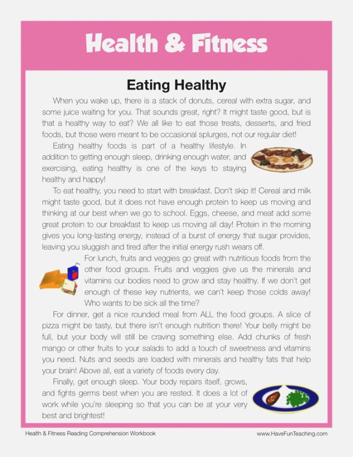 Eating Healthy Health and Fitness Reading Prehension
