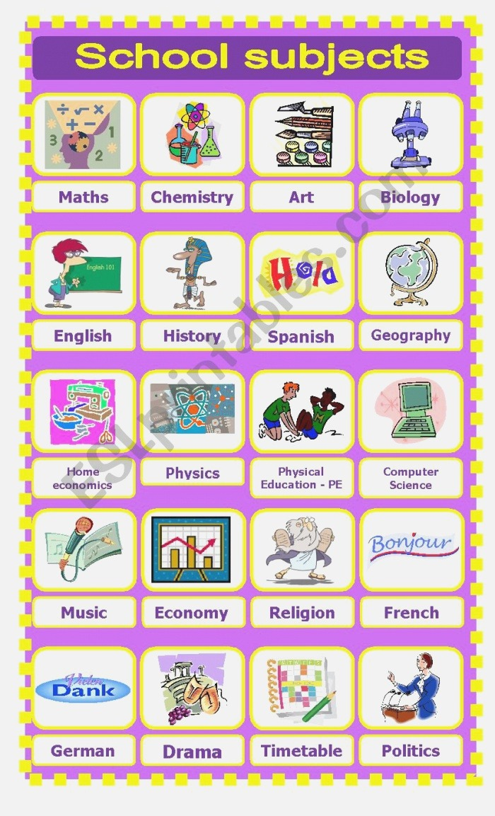 English Worksheets School Subjects Pictionary