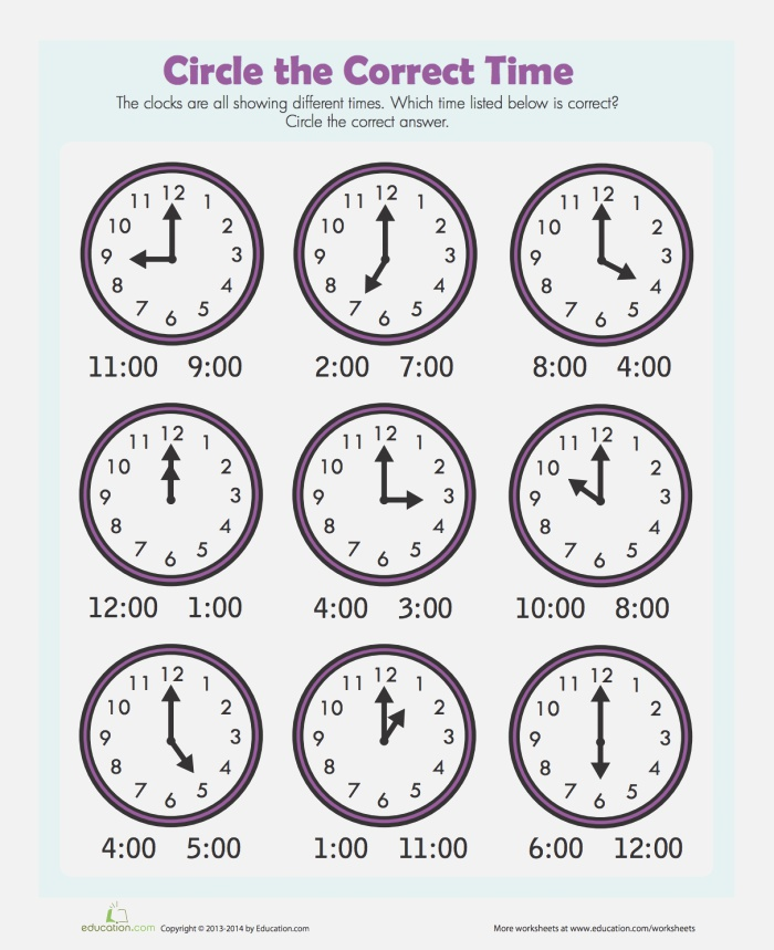 Find the Time Worksheet Education