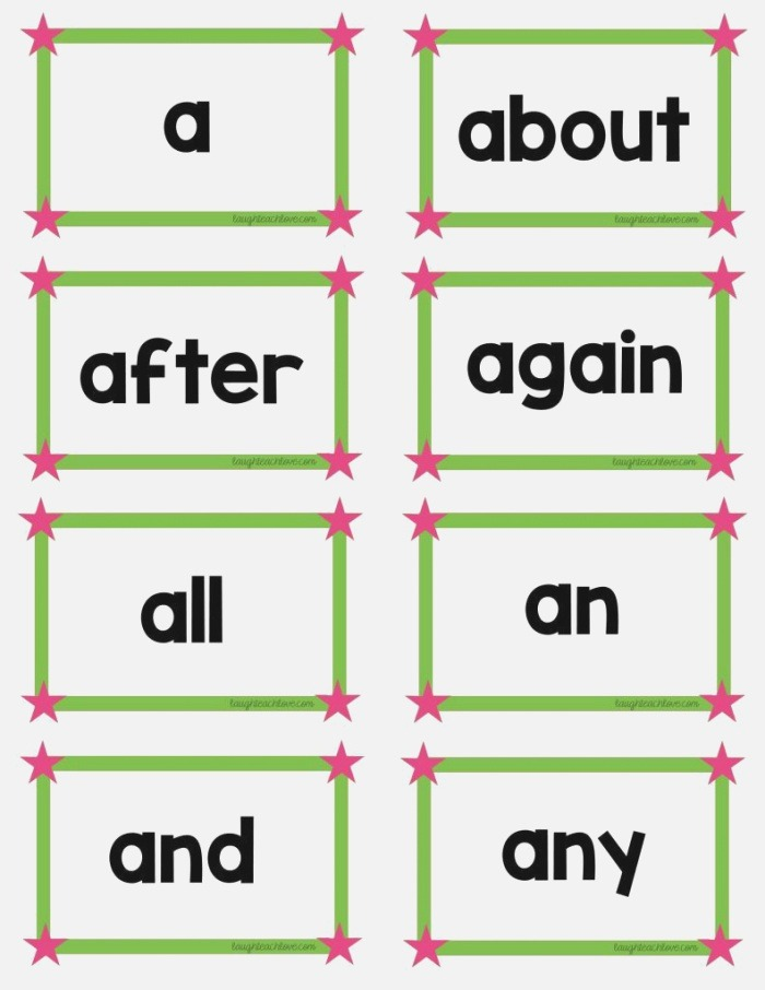First 100 Fry Frequency Words List & Flash Cards Free