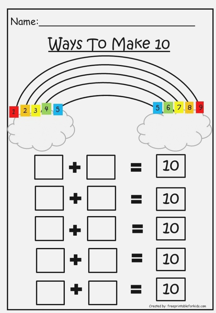 First Grade Math Printable Worksheets Ways to Make 10 In
