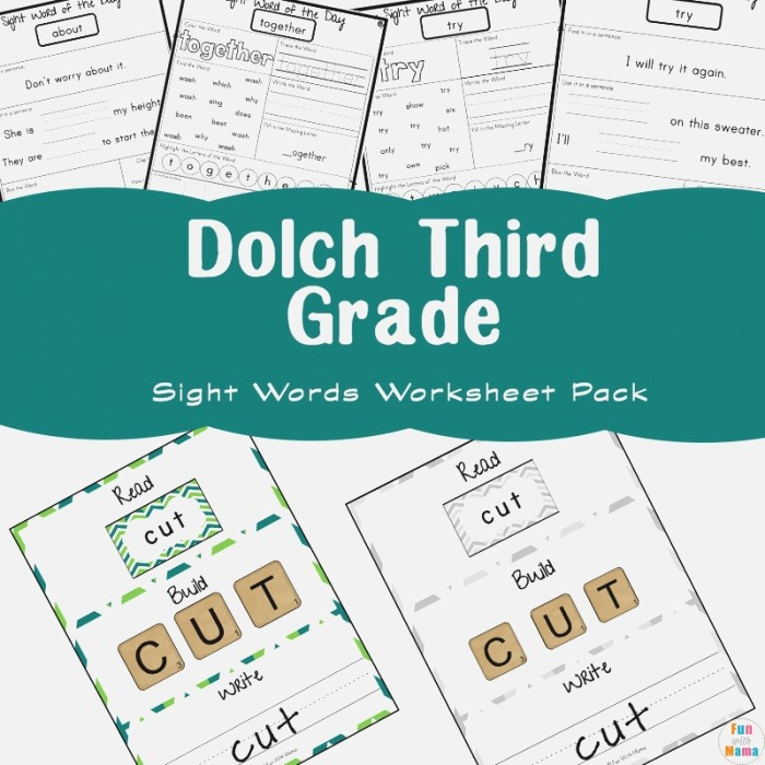 Free Dolch Third Grade Sight Words Worksheets Fun with Mama