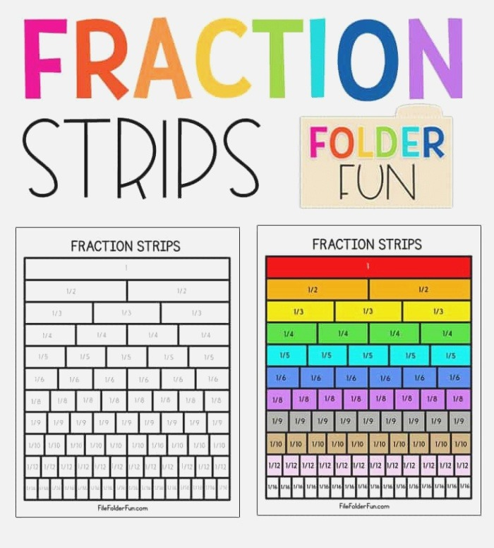 Free Printable Fraction Strips or Fraction Bars for Your