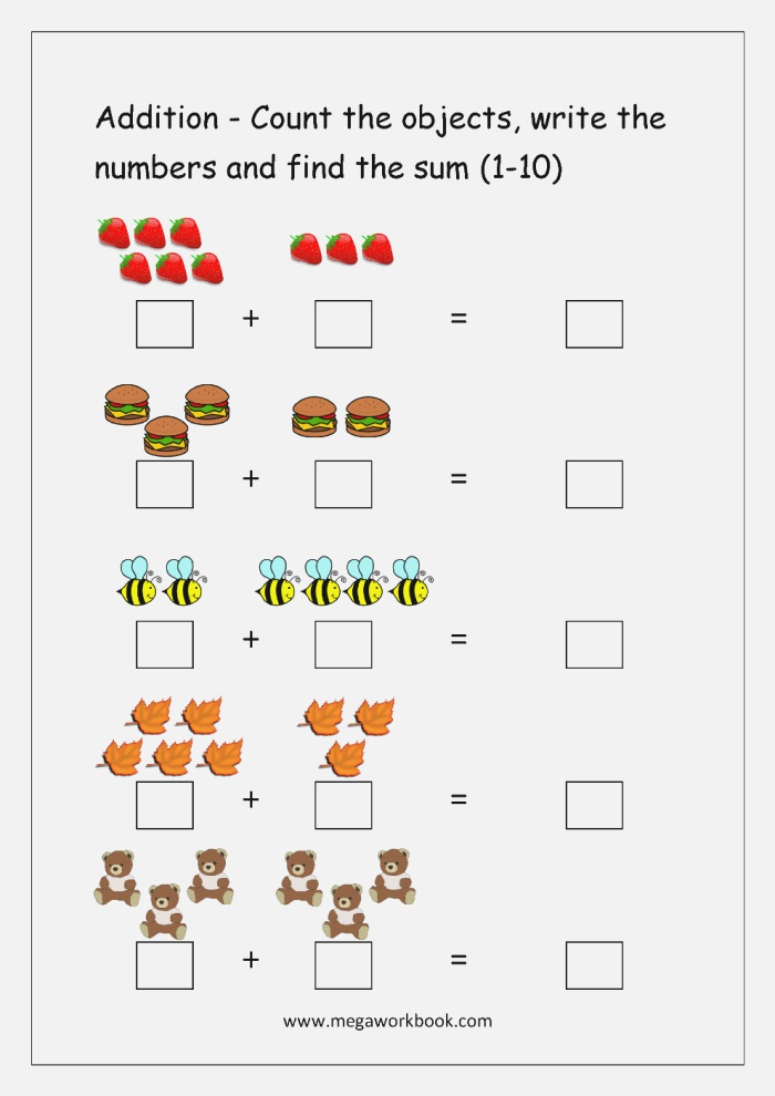 Simple Addition with Pictures Worksheets