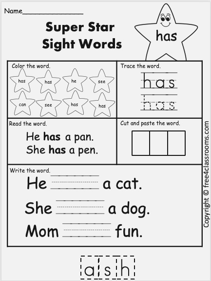 Free Sight Word Worksheet – Has – Free4classrooms