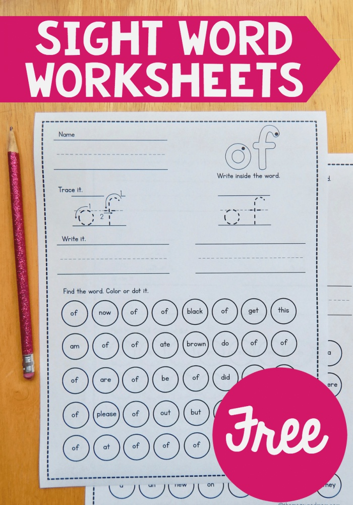 Free Sight Word Worksheets the Measured Mom