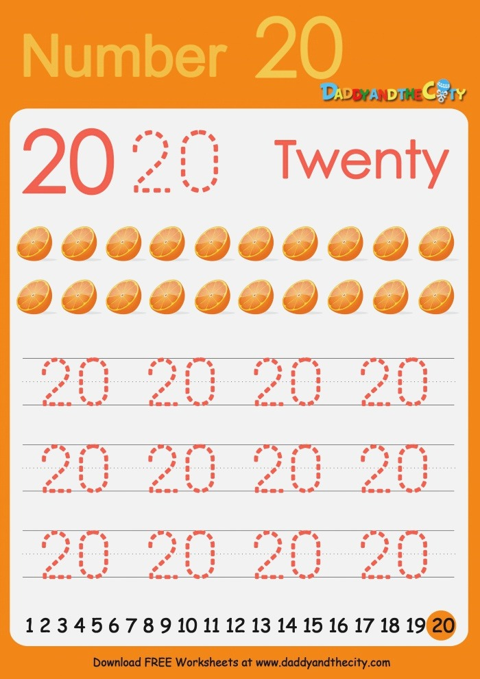 Free Writing Worksheet – Numbers 11 20 – Daddy and the City
