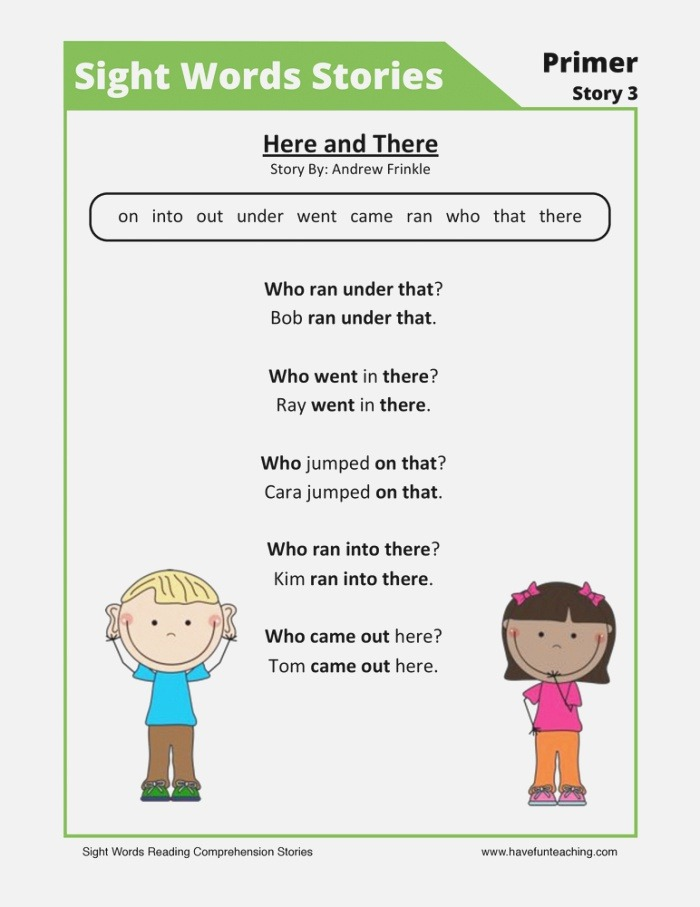 Here and there Primer Sight Words Reading Prehension