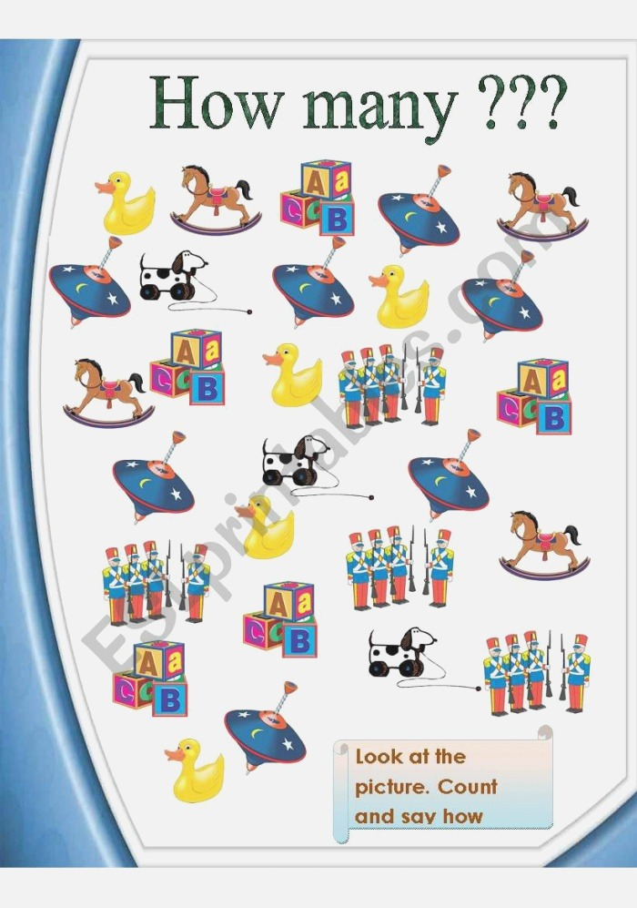How Many toys = Count Say Write 2 Pages Esl