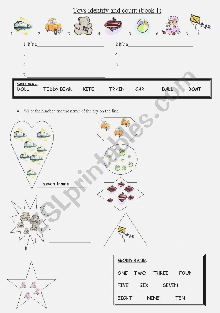 Identify the toys and Count Esl Worksheet by Cathrine