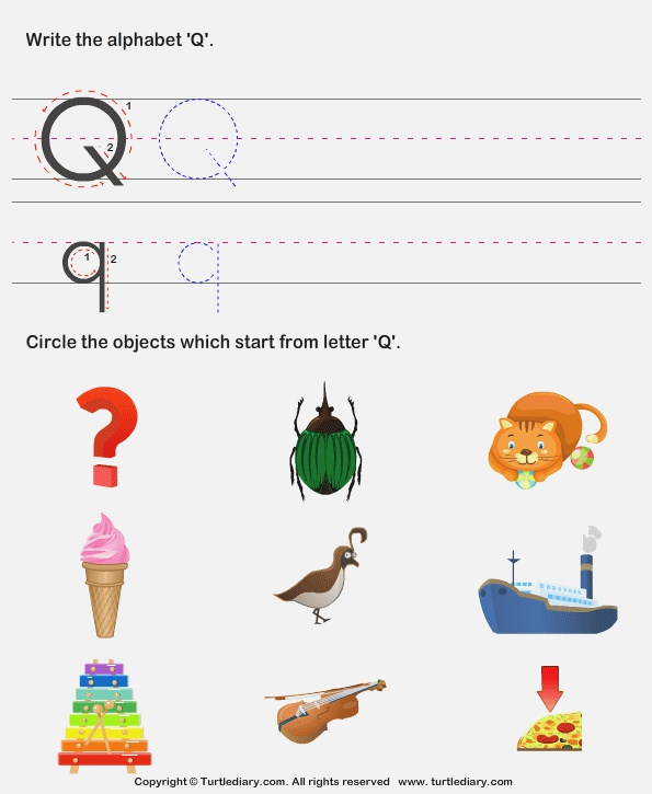 Identify Words that Start with Q Worksheet Turtle Diary