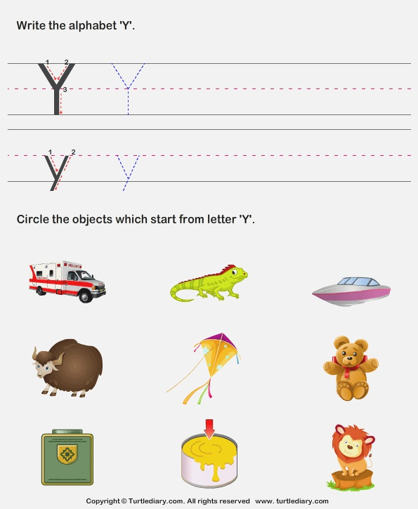Identify Words that Start with Y Worksheet Turtle Diary