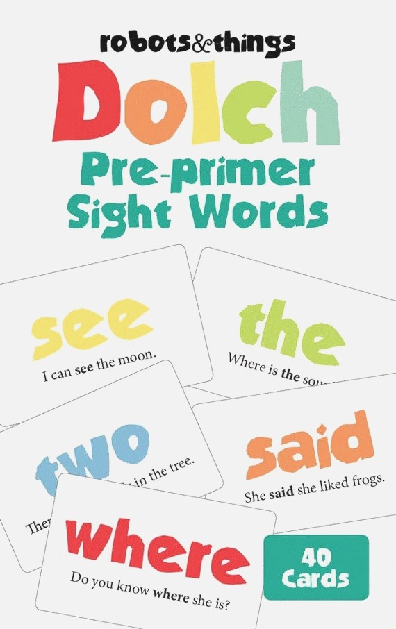 Items Similar to Printable Dolch Pre Primer Sight Words