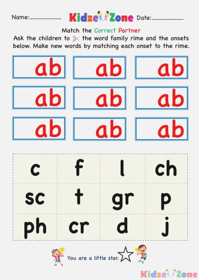 Kindergarten Worksheets Ab Word Family Cut and Paste 3