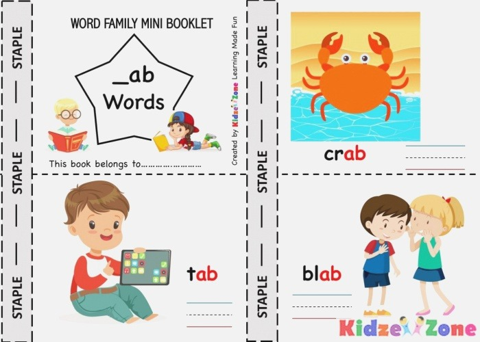Kindergarten Worksheets Ab Word Family Picture Card 3