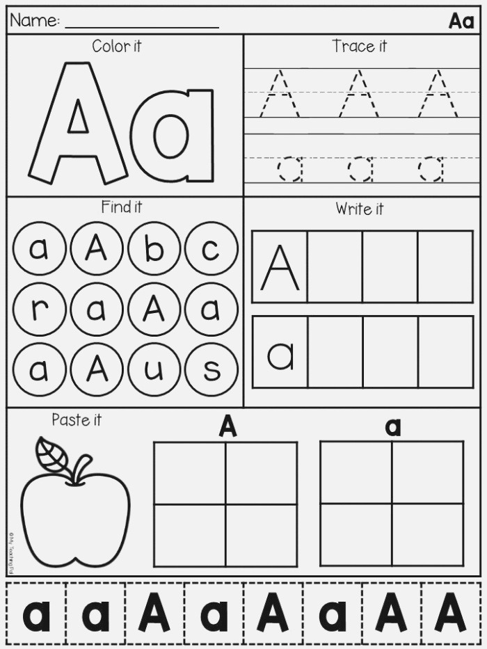 Letter A Alphabet Worksheet Students Will Identify Trace