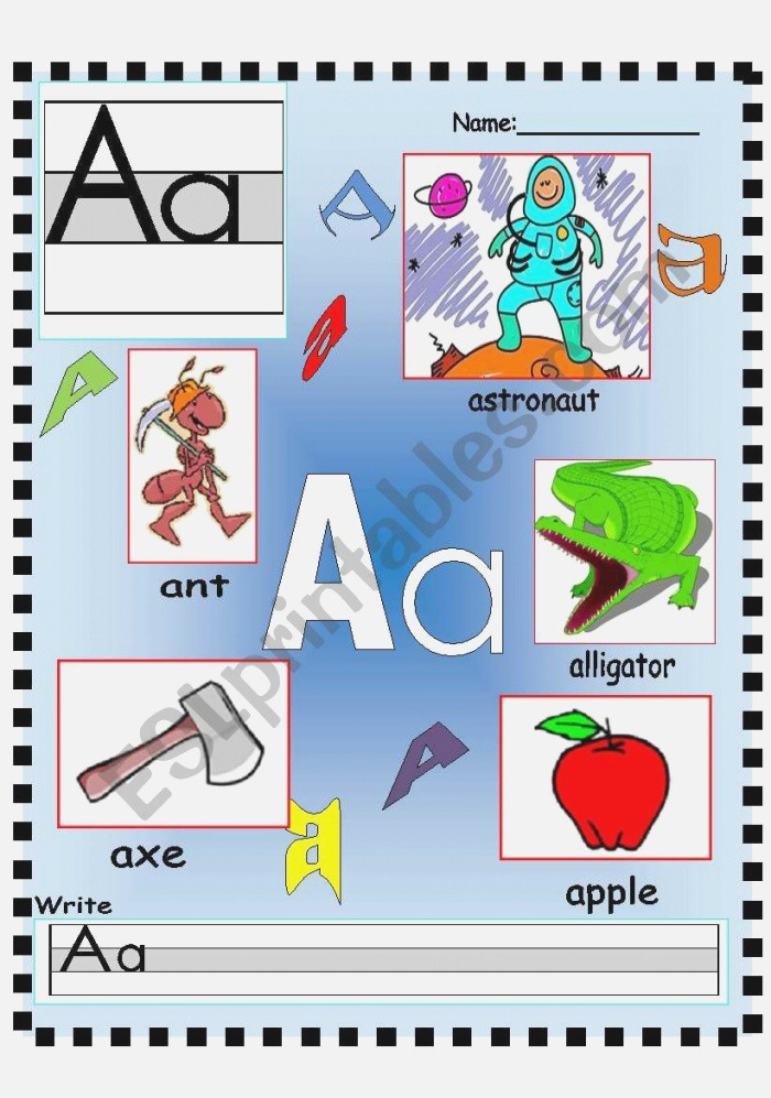 Letter Aa Vocabulary Poster and Writing Worksheet Esl