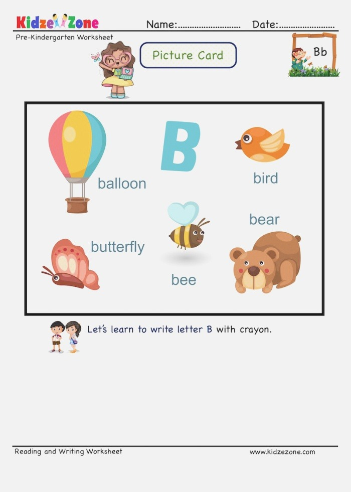 Letter B Picture Cards Worksheet Recognize Letter by