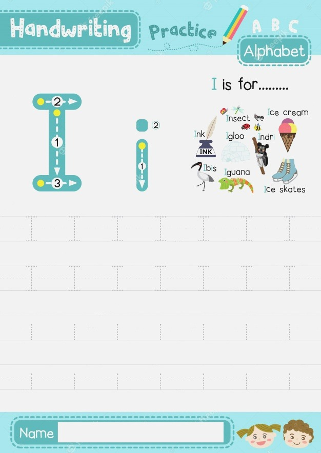 Letter I Uppercase and Lowercase Tracing Practice