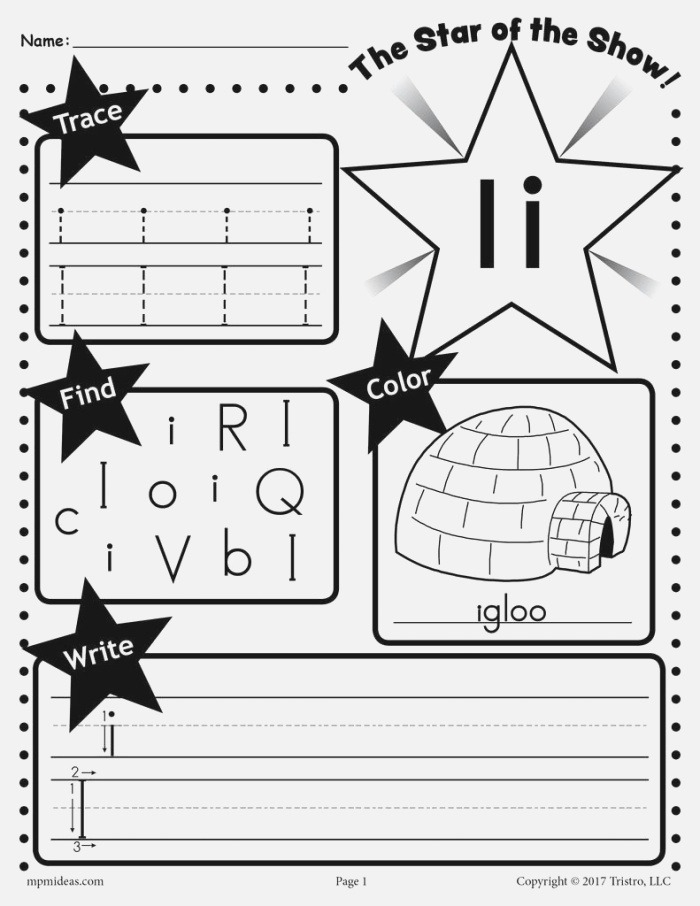 Letter I Worksheet Tracing Coloring Writing & More
