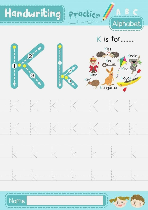 Letter K Uppercase and Lowercase Tracing Practice