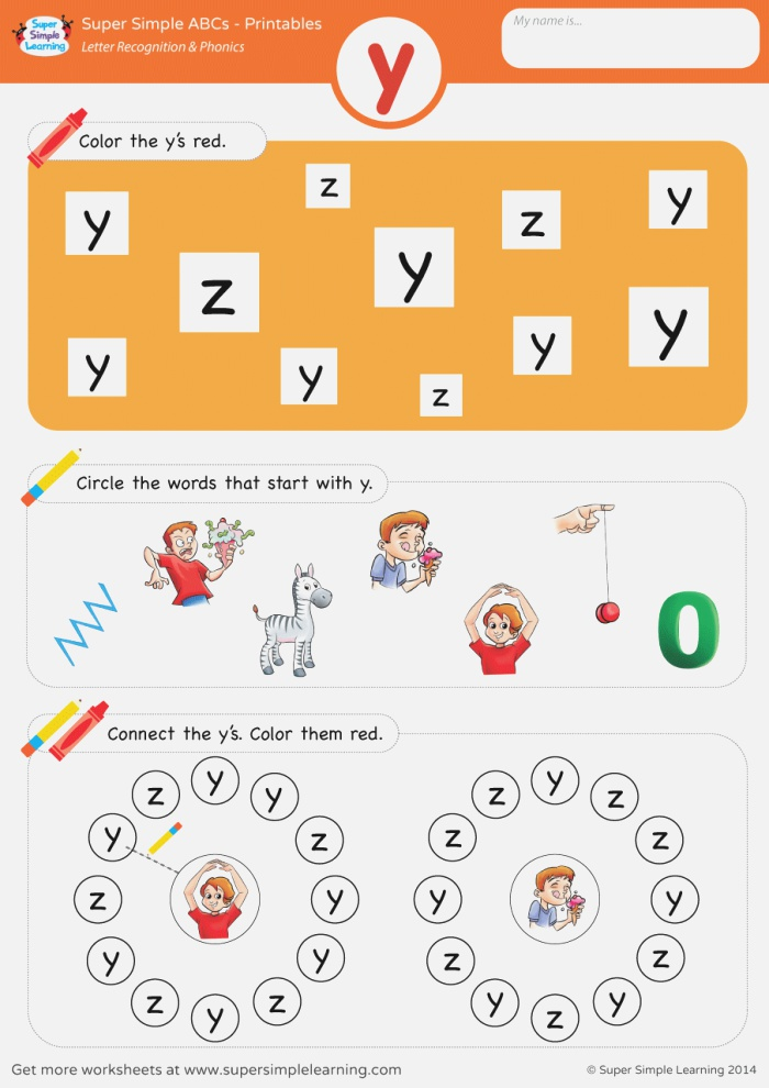 Letter Recognition & Phonics Worksheet Y Lowercase
