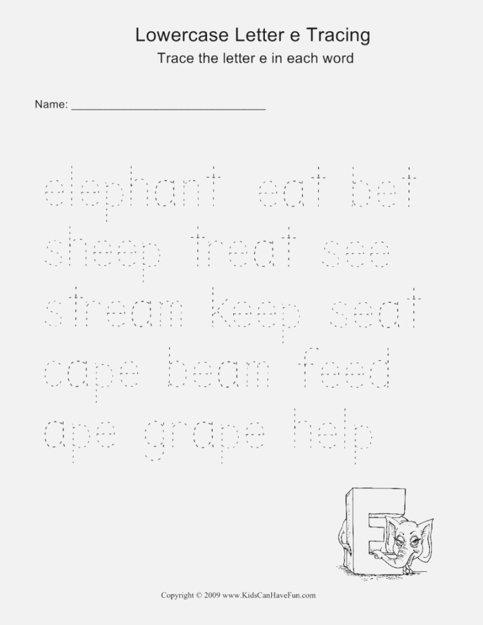 Lowercase Letter E Tracing Worksheets