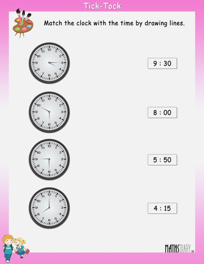Match the Clock with the Time Math Worksheets