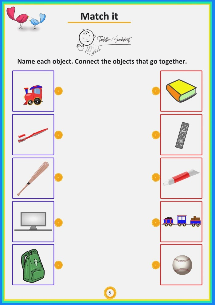 Match the Objects toddler Preschool Worksheets