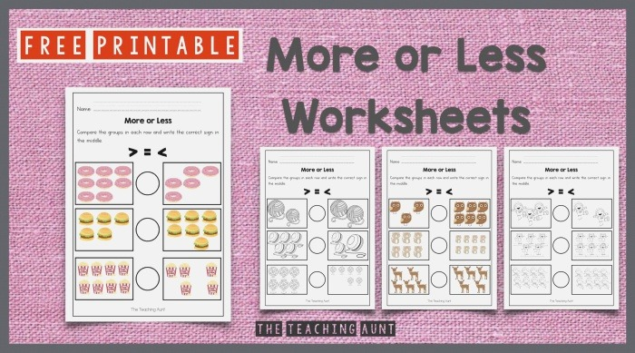 More or Less Worksheets Free Printable the Teaching Aunt