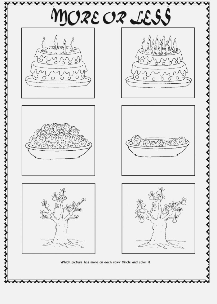 More or Less Worksheets Printable
