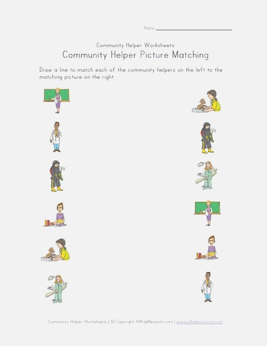 Munity Helpers Picture Matching Worksheet