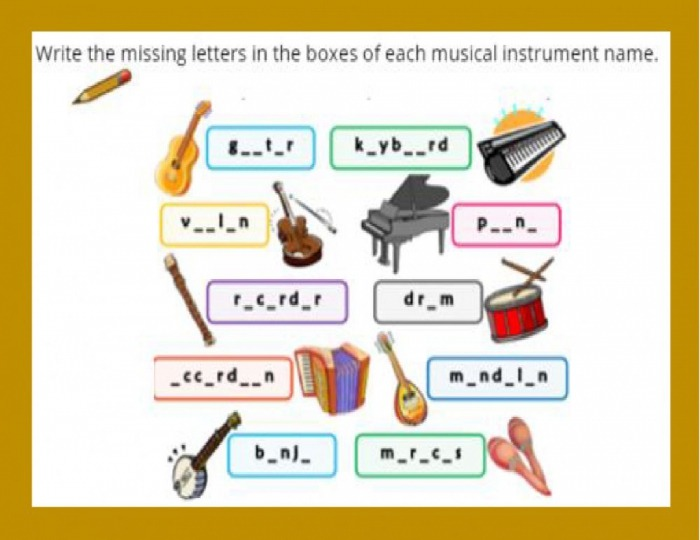 Musical Instruments Interactive Worksheet For Rd Grade
