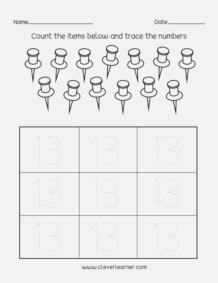 Number 13 Writing Counting and Identification Printable