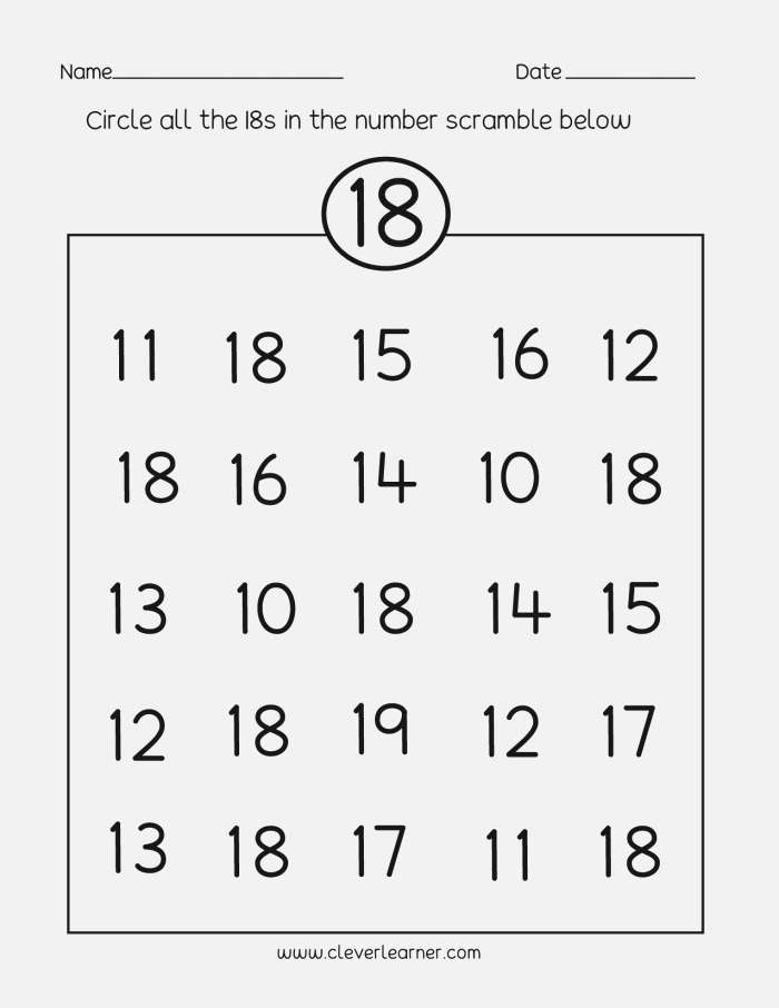 Number 18 Writing Counting and Identification Printable