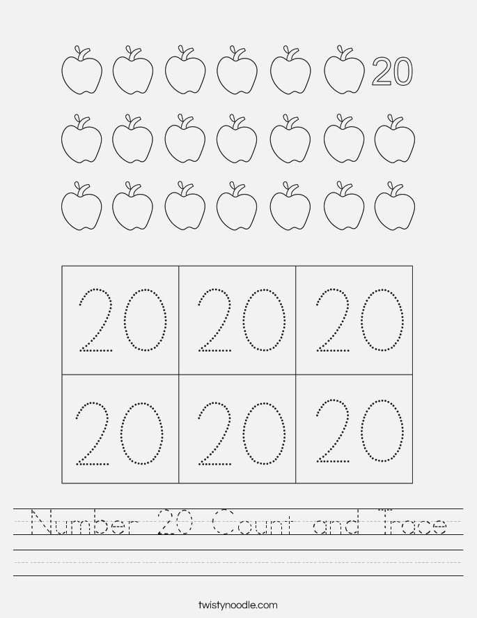 Number 20 Count and Trace Worksheet Twisty Noodle