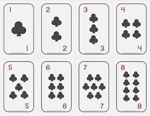 Number Cards 1 20 Deck Of Cards Clubs with Numbers