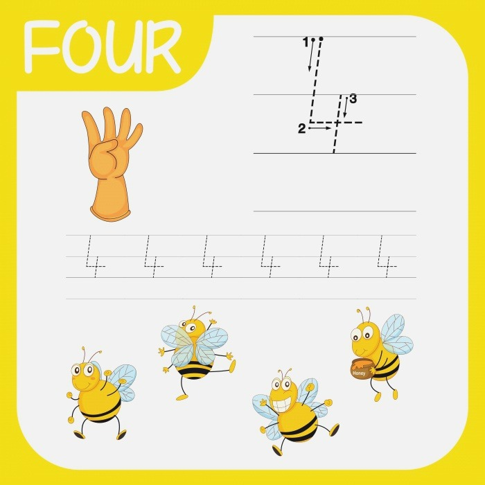 Number Four Tracing Worksheets Vector Art at Vecteezy