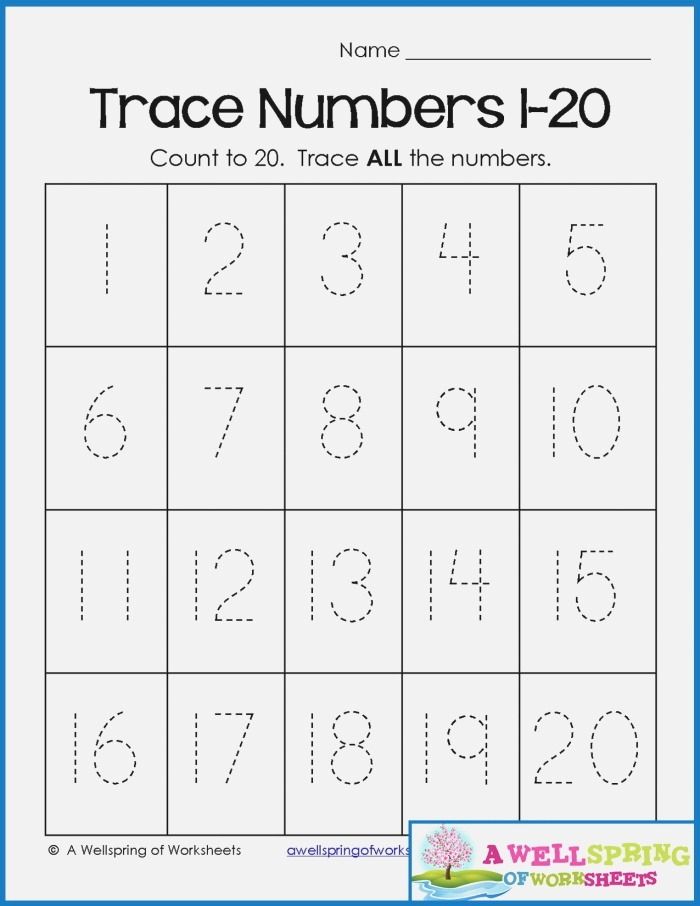 Number Tracing Worksheets 1 to 20