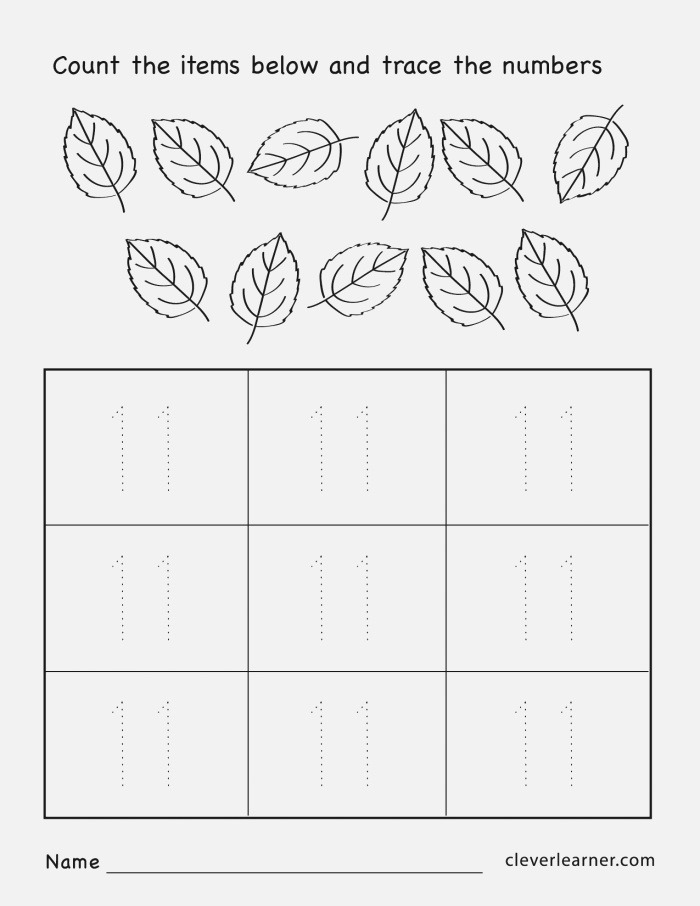 Numbers 11 20 Tracing Worksheets